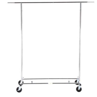 Collapsible Steel Rolling Garment Rack in Chrome