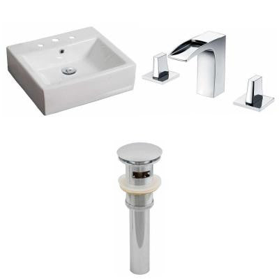 Rectangle Vessel Sink Set in White with 8 in. O.C. cUPC Faucet and Drain