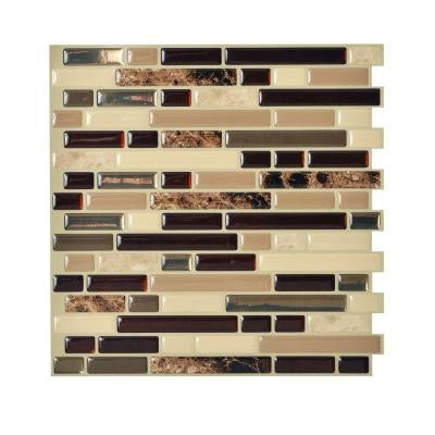 10.13 in. x 10 in. Peel and Stick Mosaic Decorative Wall Tile in Bellagio (6-Pack)