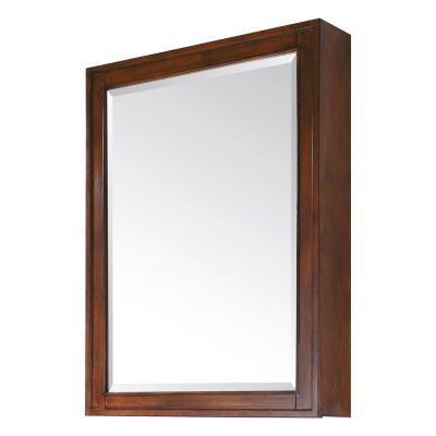 Madison 28 in. x 36 in. Mirrored Surface-Mount Medicine Cabinet in Tobacco