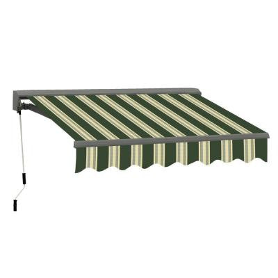 12 ft. Classic C Series Semi-Cassette Manual Retractable Patio Awning (118 in. Projection) in Green/Beige Stripes