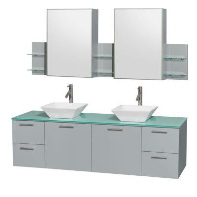 Amare 72 in. W x 22.25 in. D Vanity in Dove Gray with Glass Vanity Top in Green with White Basins and Cabinet Mirrors