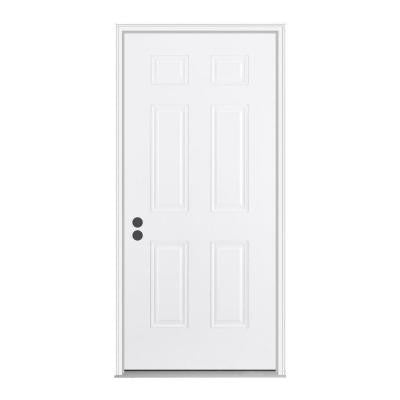 30 in. x 80 in. 6-Panel Primed White Fiberglass Prehung Front Door with Brickmould