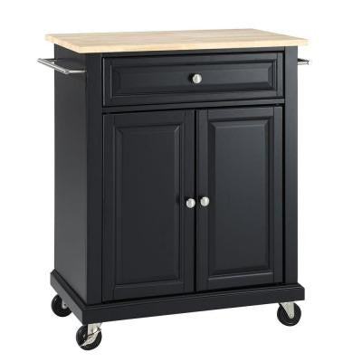 28-1/4 in. W Natural Wood Top Mobile Kitchen Island Cart in Black