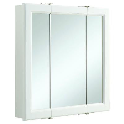 Wyndham 24 in. x 24 in. Tri-View Surface-Mount Mirrored Medicine Cabinet in White Semi-Gloss