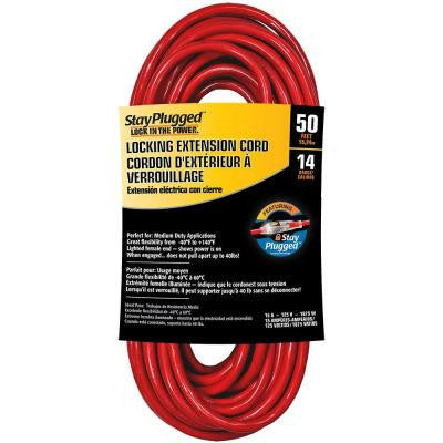 50 ft. 14/3 Stay Plug Extension Cord - Red