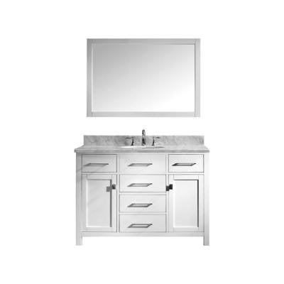 Caroline 48 in. Single Basin Vanity in White with Marble Vanity Top in Italian Carrera White and Mirror