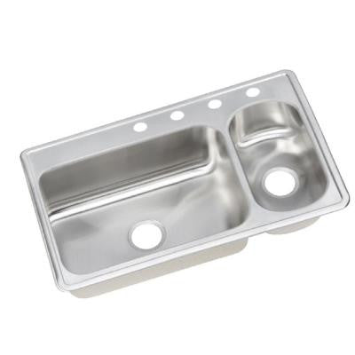 Top Mount Stainless Steel 33 in. 4-Hole Double Bowl Kitchen Sink