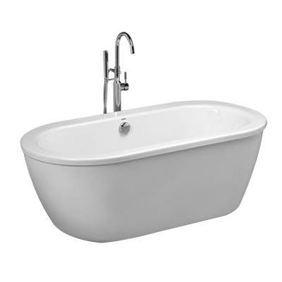 Cadet 5.5 ft. Acrylic Center Drain Free Standing Bathtub with Faucet in Arctic with White