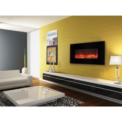 Carbon Flame 40 in. Wall-Mount Electric Fireplace in Black
