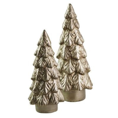 12.5 in. to 16 in. Silver Paper Pulp Evergreen Trees (Set of 2)