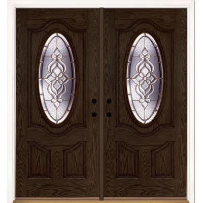 74 in. x 81.625 in. Lakewood Brass 3/4 Oval Lite Stained Walnut Oak Fiberglass Double Prehung Front Door