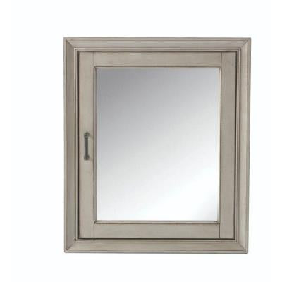 Hazelton 24 in. W x 28 in. H Surface-Mount Mirrored Medicine Cabinet in Antique Grey
