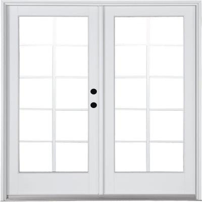 71-1/4 in. x 79-1/2 in. Composite White Left-Hand Inswing Hinged Patio Door with 10 Lite External Grilles