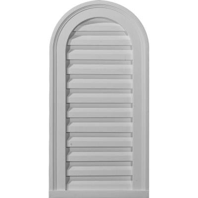 Cathedral 12 in. x 24 in. Urethane Gable Decorative Louver Vent in White