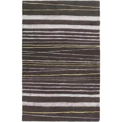 GlucksteinHome Gray 5 ft. x 8 ft. Area Rug