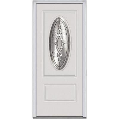 36 in. x 80 in. Brentwood Decorative Glass 3/4 Oval Lite 1-Panel Primed White Fiberglass Smooth Prehung Front Door