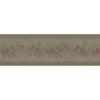 5 in. W x 180 in. H Alexa Olive Floral Meadow Border