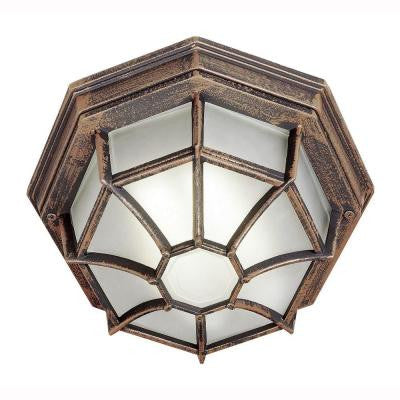 Energy Saving 1-Light Outdoor Rust Ceiling Fixture with Frosted Glass