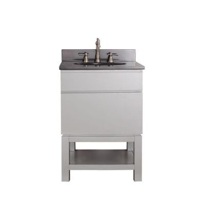 Tribeca 25 in. Vanity in Chilled Gray with Granite Vanity Top in Black