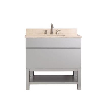 Tribeca 37 in. Vanity in Chilled Gray with Marble Vanity Top in Gala Beige