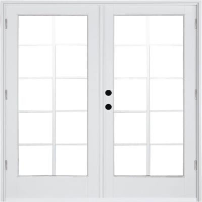 59-1/4 in. x 79-1/2 in. Composite White Right-Hand Outswing Hinged Patio Door with 10 Lite External Grilles