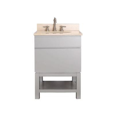Tribeca 25 in. Vanity in Chilled Gray with Marble Vanity Top in Gala Beige