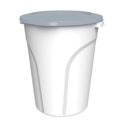 24 Qt. Plastic Utility Can White Base and Grey Lid