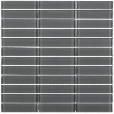 Contempo Smoke Gray 11.75 in. x 11.75 in. x 8 mm Polished Glass Mosaic Floor and Wall Tile