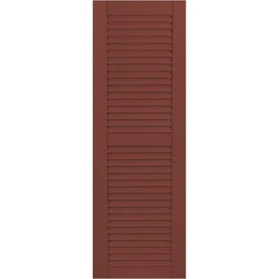 15 in. x 79 in. Exterior Composite Wood Louvered Shutters Pair Country Redwood
