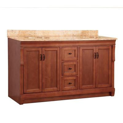 Naples 61 in. W x 22 in. D Double Sink Vanity in Warm Cinnamon with Vanity Top and Stone Effects in Tuscan Sun