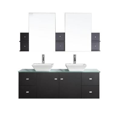 Clarissa 61 in. Double Basin Vanity in Espresso with Glass Vanity Top and Mirror Cabinets in Aqua