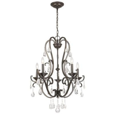5-Light Oil Rubbed Bronze Crystal Chandelier
