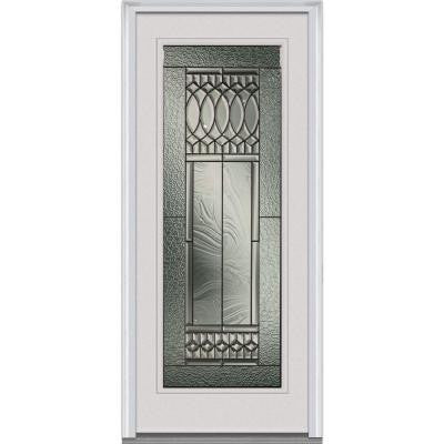 34 in. x 80 in. Paris Decorative Glass Full Lite Primed White Fiberglass Smooth Prehung Front Door