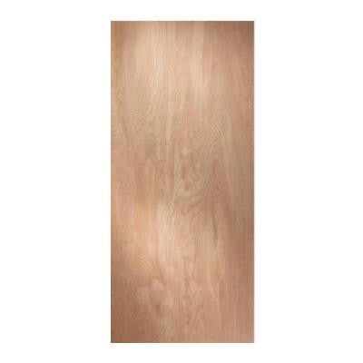 32 in. x 80 in. Woodgrain Flush Solid Core Unfinished Hardwood Front Door Slab