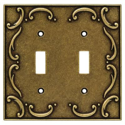 French Lace 2 Gang Toggle Switch Wall Plate - Burnished Antique Brass