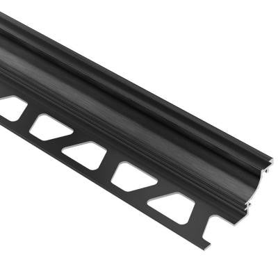 Dilex-AHK Brushed Graphite Anodized Aluminum 9/16 in. x 8 ft. 2-1/2 in. Metal Cove-Shaped Tile Edging Trim