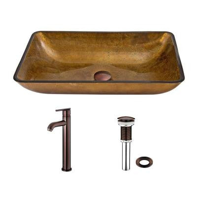 Rectangular Glass Vessel Sink in Copper and Seville Faucet Set in Oil Rubbed Bronze