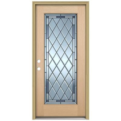 36 in. x 80 in. Firethorne Full Lite Unfinished Hemlock Wood Prehung Front Door with Brickmould and Patina Caming