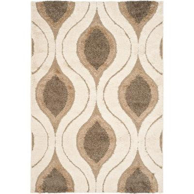 Florida Shag Cream/Smoke 5 ft. 3 in. x 7 ft. 6 in. Area Rug