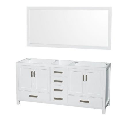 Sheffield 70 in. Double Vanity Cabinet with 70 in. Mirror in White