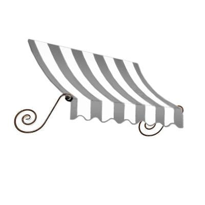 10 ft. Charleston Window/Entry Awning (24 in. H x 12 in. D) in Gray/White Stripe