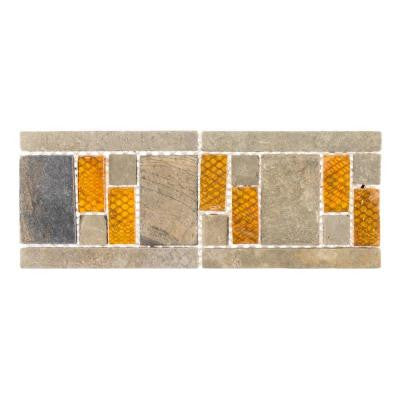 Aspen 4 in. x 10 in. x 8 mm Glass and Slate Wall Tile