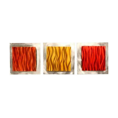 Brevium 12 in. x 38 in. Warm Essence Metal Wall Art (Set of 3)