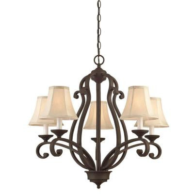 5-Light Weathered Bronze Chandelier