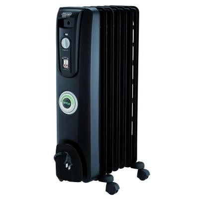 Portable Oil-Filled 7-Fin Radiator - Black