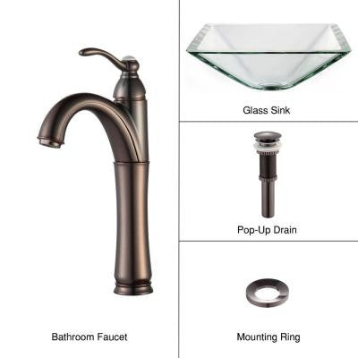 Vessel Sink in Clear Glass Aquamarine with Single Hole 1-Handle High Arc Riviera Faucet in Oil Rubbed Bronze