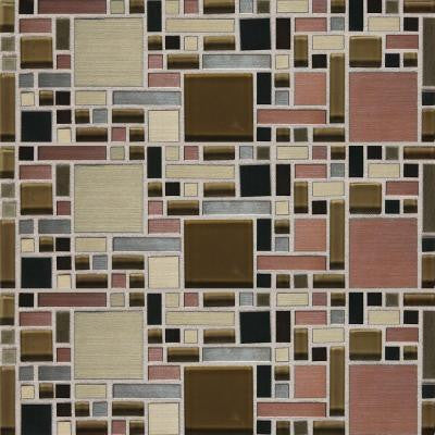 Fashion Accents Copper Fortress Blend 12 in. x 12 in. Glass and Stone Blend Mosaic Wall Tile