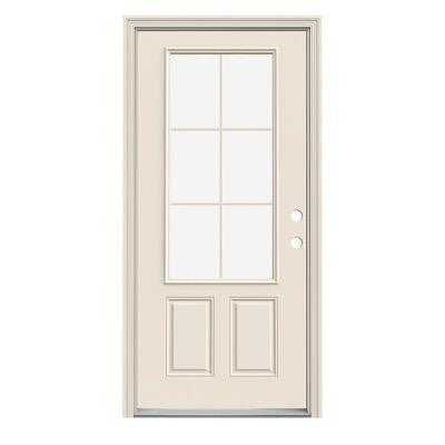 32 in. x 80 in. 6 Lite Primed Premium Steel Prehung Front Door with Brickmould