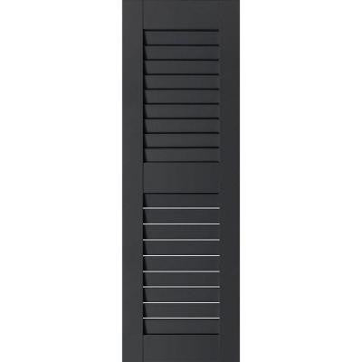 15 in. x 73 in. Exterior Real Wood Western Red Cedar Louvered Shutters Pair Black